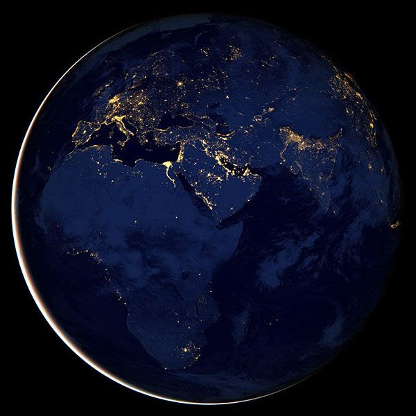 A night view of the Eastern Hemisphere of Earth as seen by the Suomi NPP satellite, taken around December 5, 2012.
