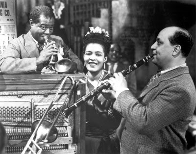 Louis Armstrong, Billie Holiday and Barney Bigard in New Orleans (1947)