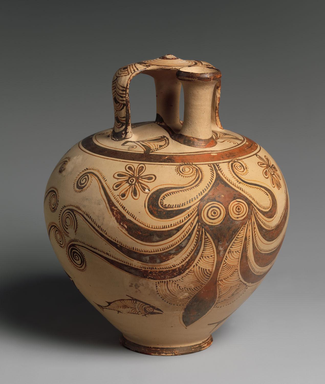 octopus stirrup jar
