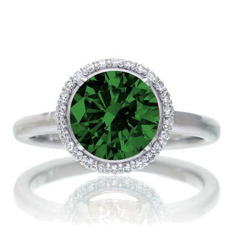 1.25 Carat Round Cut Classic Halo Emerald and Diamond