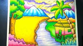 Download Menggambar Dan Mewarnai Pemandangan Alam Sawah Dan Gunung