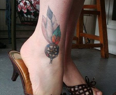 Feathers Tattoo On Ankle