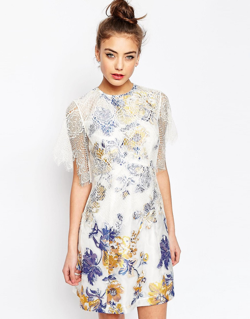 Image 1 of ASOS A-Line Dress with Jacquard and Lace Detail