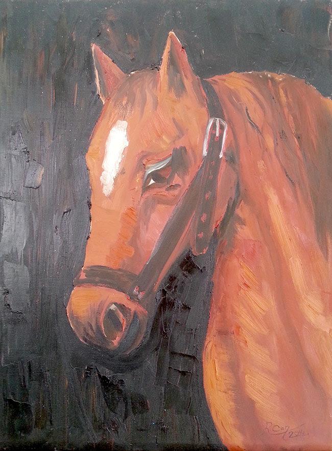 At Kafası Yağlı Boya Rıdvan Can Resim öğretmeni