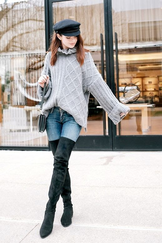 Le Fashion Blog Blogger Style Cable Knit Turtleneck Sweater Light Wash Skinny Jeans Stuart Weitzman Thigh High Boots Via Sea Of Shoes