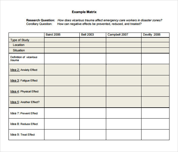 literature review template example