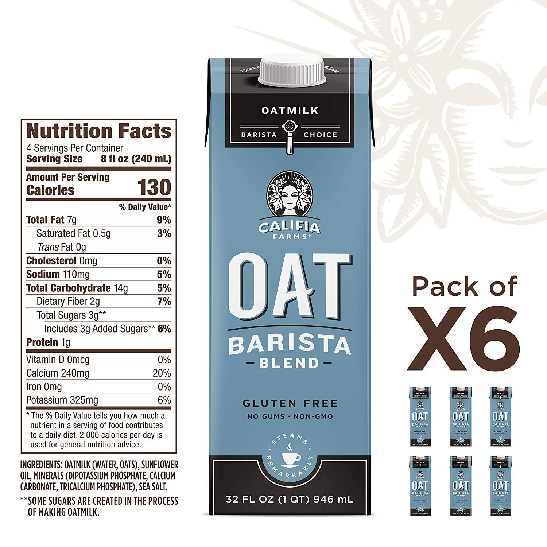 Califia Farms - Oat Milk, Unsweetened Barista Blend, 32 Oz ...