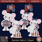 Patriotic Mice 1 Clipart - CU