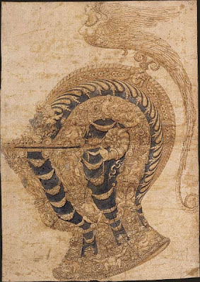 Sketch by Andrea Casalini for an armor helmet