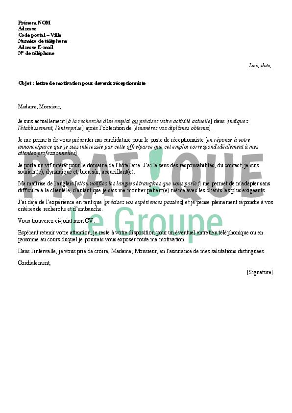 Lettre De Motivation Pour Emploi Receptionniste | Job ...
