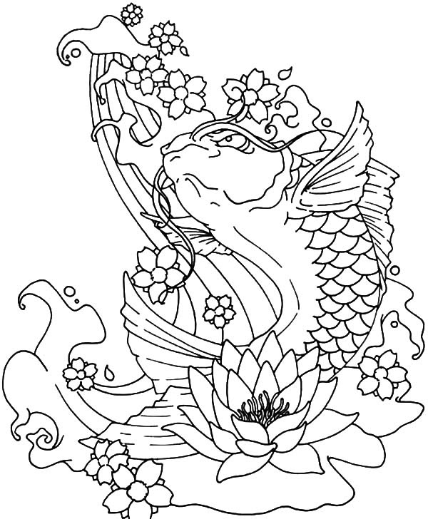 Koi Fish Jumping Out of Water Coloring Pages: Koi Fish Jumping Out of Water Coloring Pages