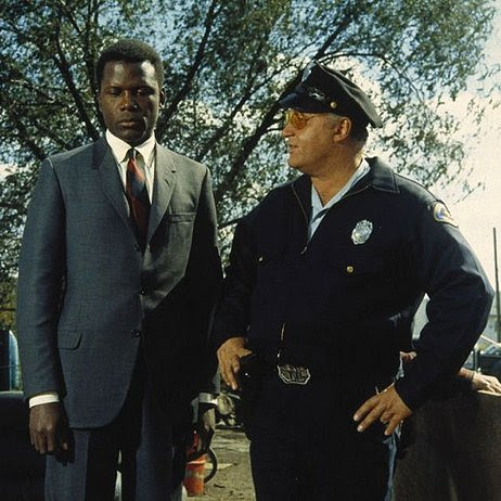 Sidney Poitier as Virgil Tibbs and Rod Steiger as Sheriff Gillespie