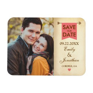 Rustic Elegant Photo Save The Date Rectangular Magnet