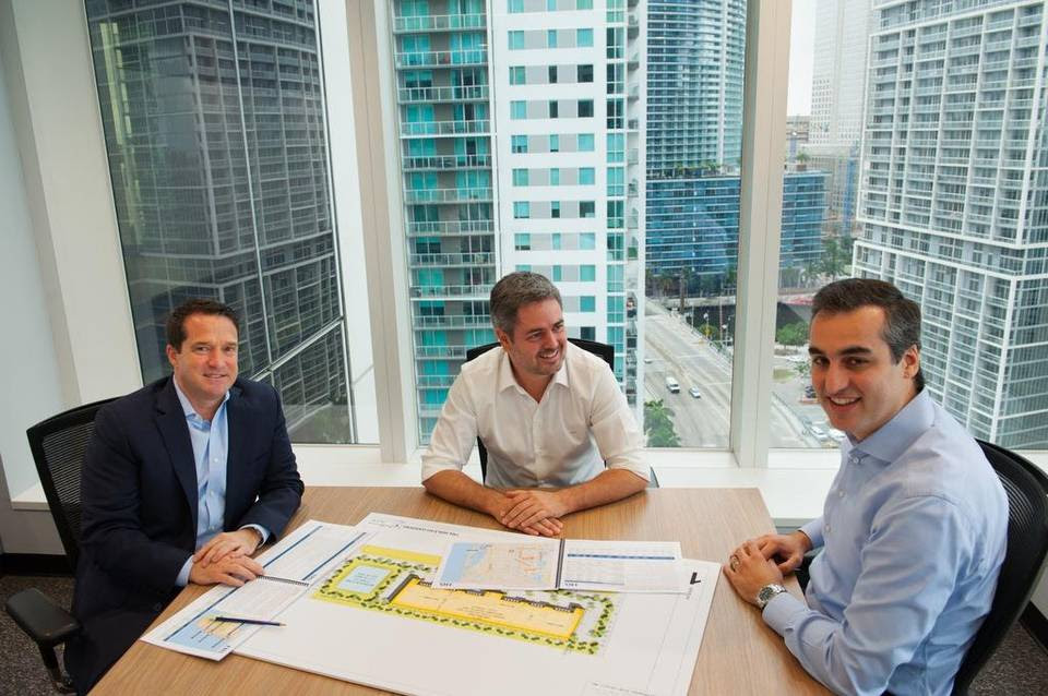 From left: Scott F. Pryce, founder and CEO of TRX Investments; Luiz Augusto Faria do Amaral, co-founder and CEO of TRX Group; and Fernando Fiuza de Souza, managing director of TRX Investments and founder and managing partner of TRX Residential. They are at TRX Group's headquarters at 600 Brickell Ave., Miami.