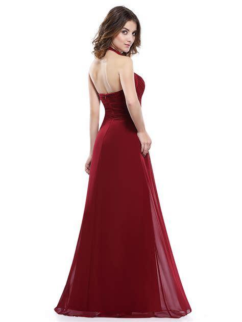 UK Womens Halter Neck Long Prom Bridesmaid Party Maxi