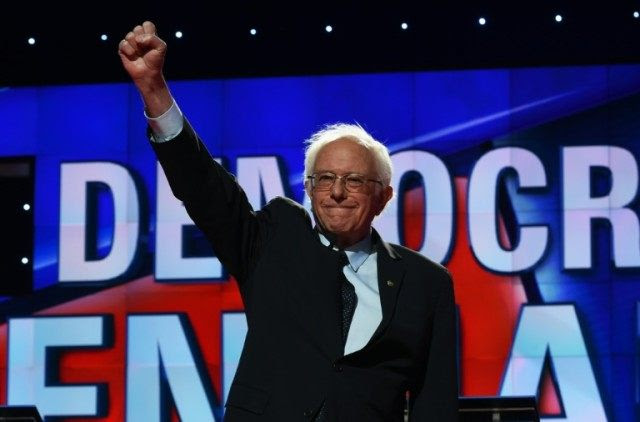 US Democratic presidential candidate Bernie Sanders on stage for the CNN Democratic Presidential Debate on April 14, 2016 in New York
