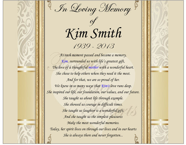 Personalized Sympathy Gifts In Memory Memorial Picture Frame Photo