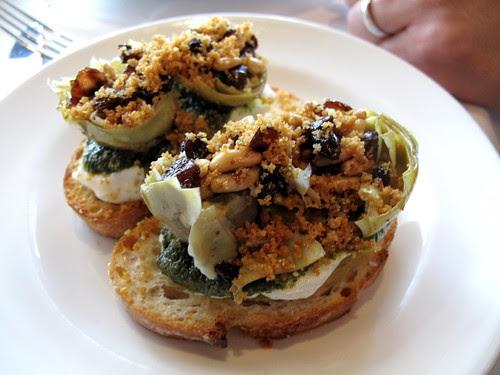 Mozzarella with Artichokes, Pine Nuts and Breadcrumbs at Osteria Mozza