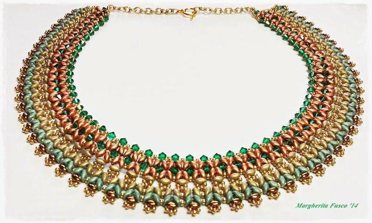 75marghe75 Bead By Bead: Collana Sokar con perline superduo, bicono swarovski e rocailles. Schema con perline