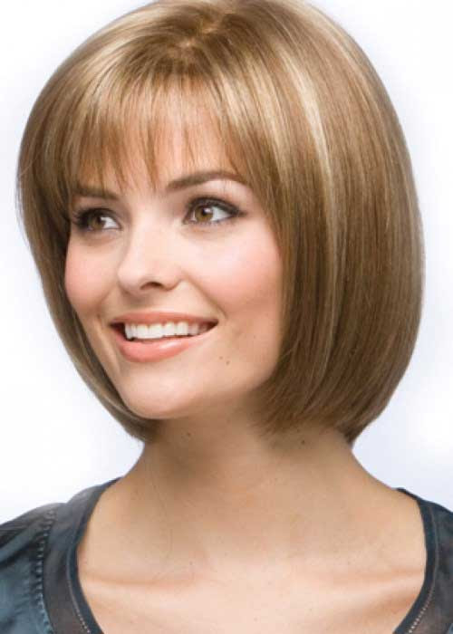 12. Chin Length Layered Bob Hairstyle with Bangs | Haircuts