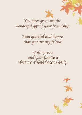 3975 Friend Thanksgiving Wishes Leaves Cards By Sandra Rose