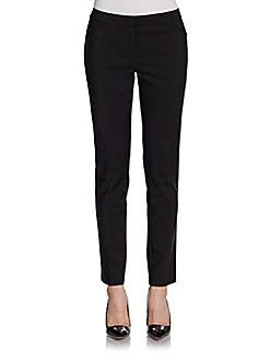 Saks Fifth Avenue BLACK Slim-Leg Stretch Cotton Pants