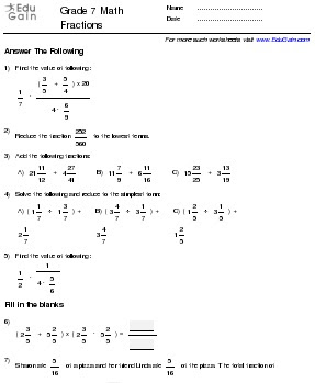 Grade 7 Math Worksheets and Problems: Fractions : EduGain ...