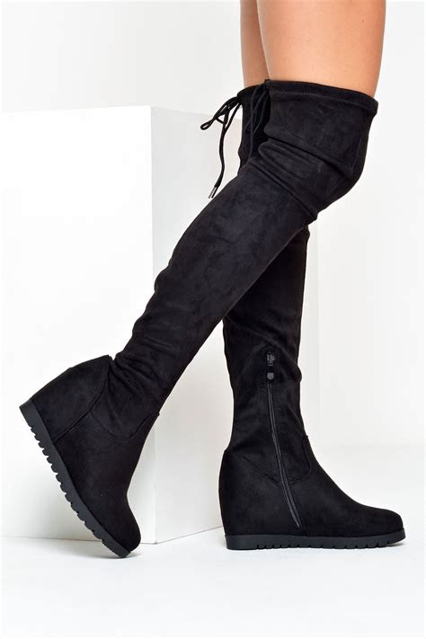 doubt molly   knee wedge boots  black iclothing