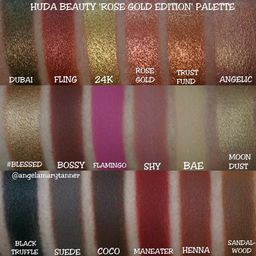 Huda Beauty Rose Gold  Eyeshadow Palette Swatches