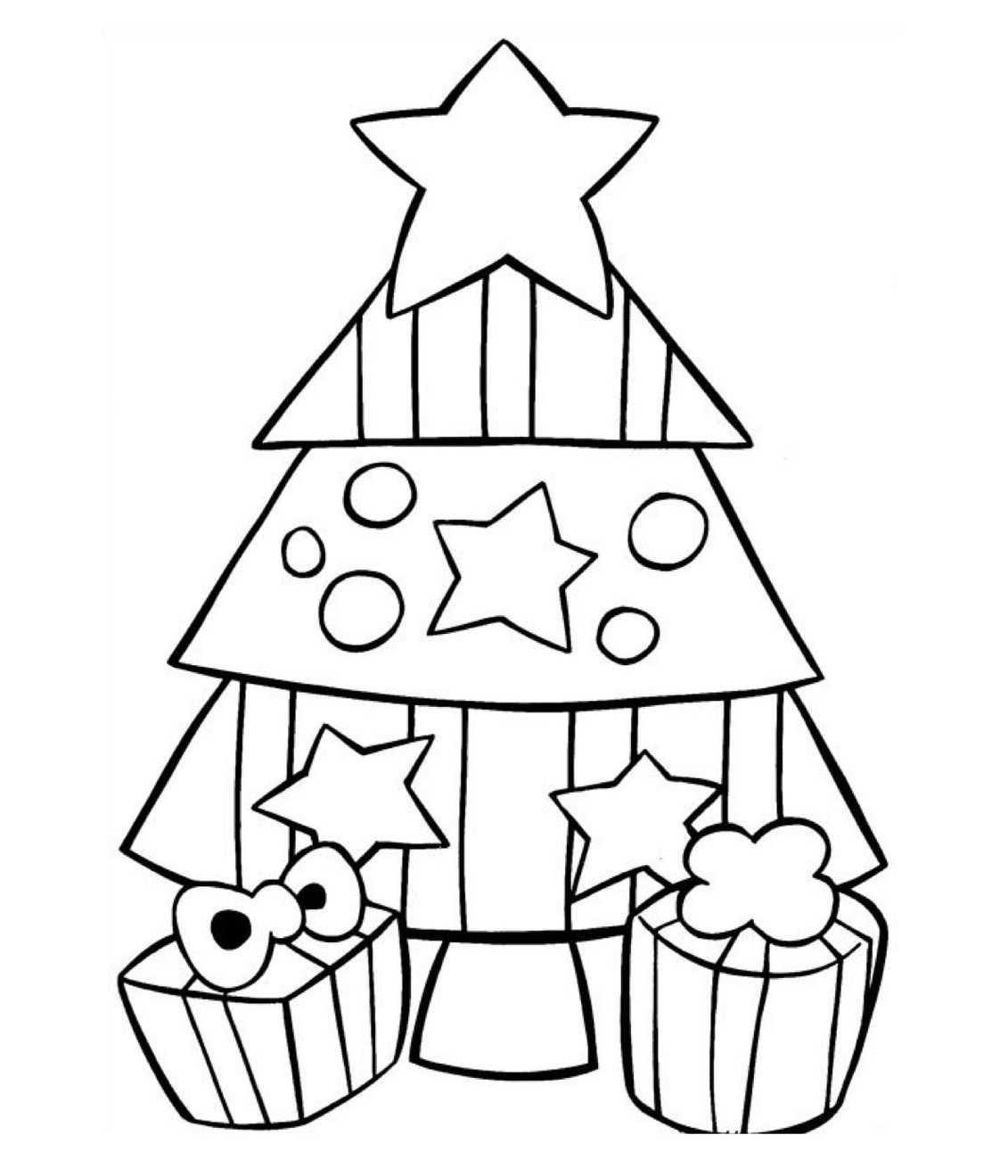 Süslenmiş Yeni Yıl Ağaçları Boyama Sayfaları Okul öncesi Eğitici