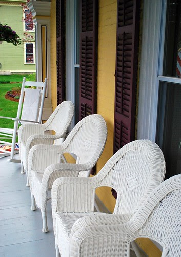 White Whicker Chairs on the Front Porch