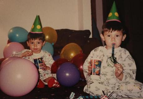 Jonas and Wyatt (right) at their second birthday party.
