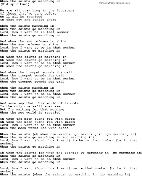 Oh When The Saints Go Marching In Lyrics