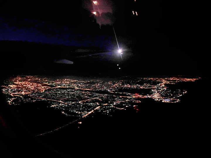 night view from the plane of taiwan