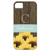 MONOGRAMMED AQUA RUSTIC SUNFLOWER iPhone 5 COVER