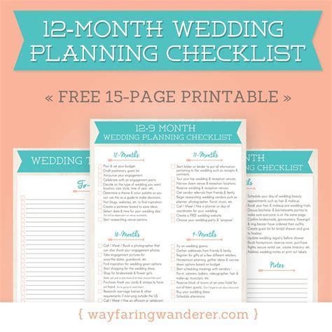 12 Month Wedding Planning Checklist   Free Timeline