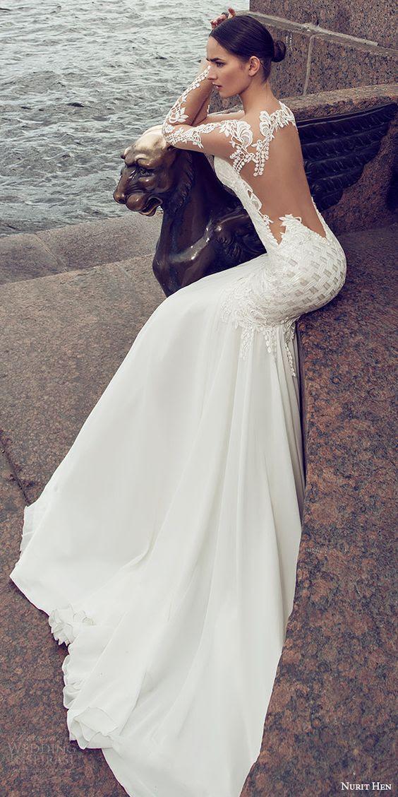 verziert Meerjungfrau Hochzeitskleid mit illusion ärmel und eine illusion Rückseite für einen sexy look