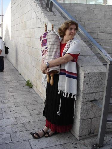 Anat Hoffman waits with the Torah