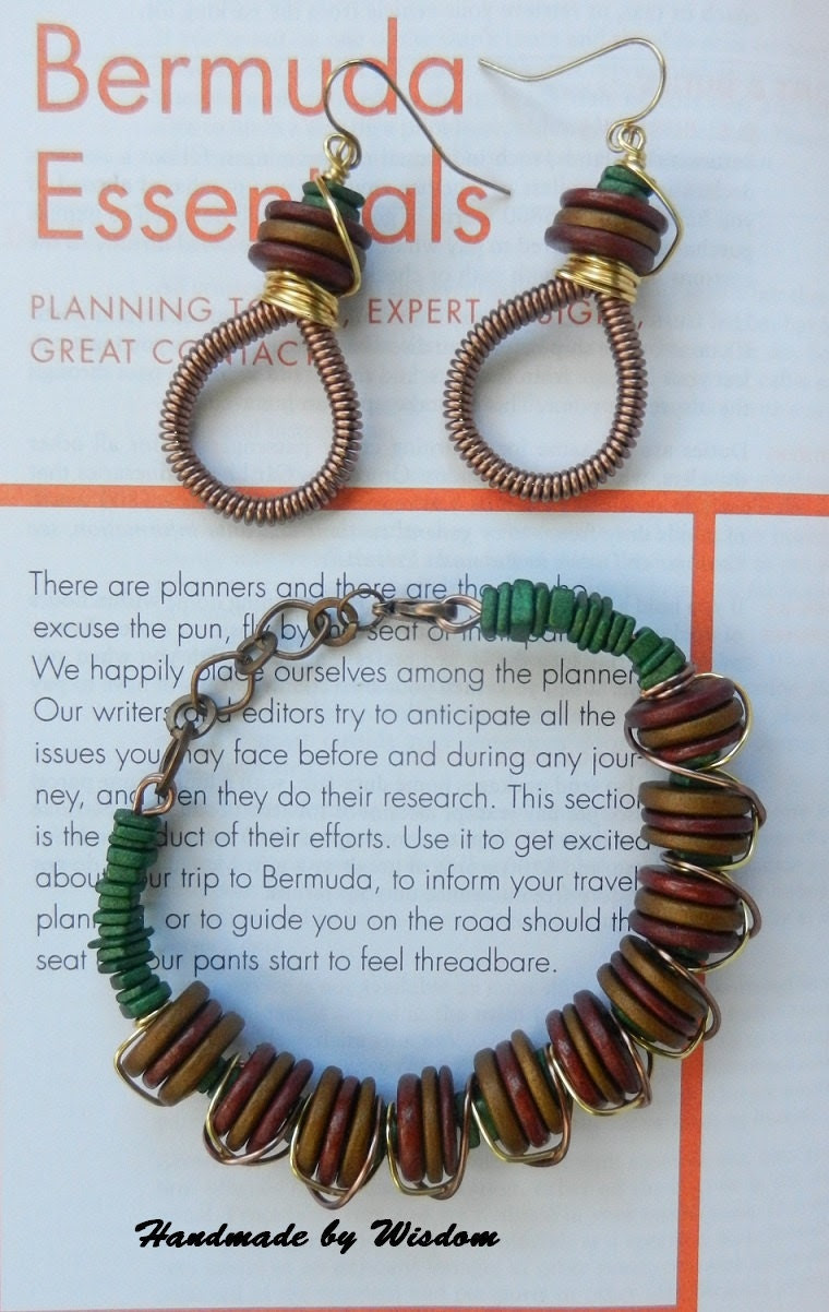 Bronze, Gold and Green Beaded Bracelet with Matching Coiled Earrings