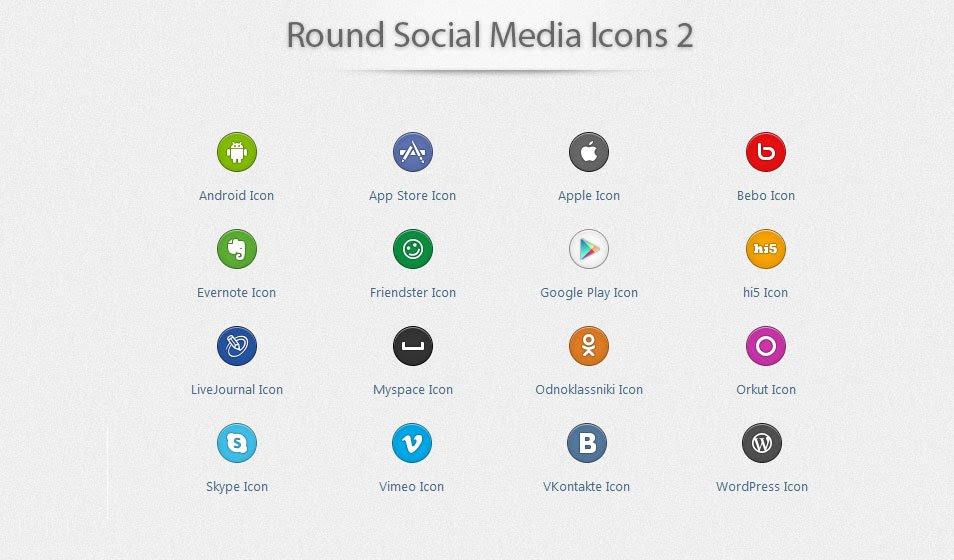 Round Social Media Icons 2