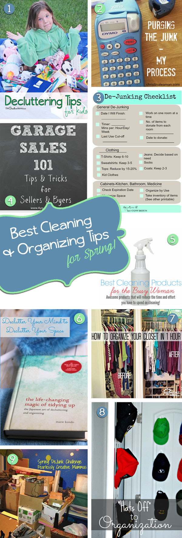 Spring De-Junk Challenge 2015 Inspiration Posts -- Check out our Best Cleaning and Organizing Tips for Spring, and then join us for the 10-day challenge! {OneCreativeMommy.com}