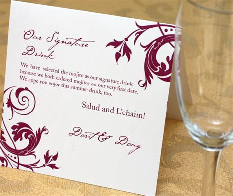 Wedding Reception Signature Drink Signs   Invitations by