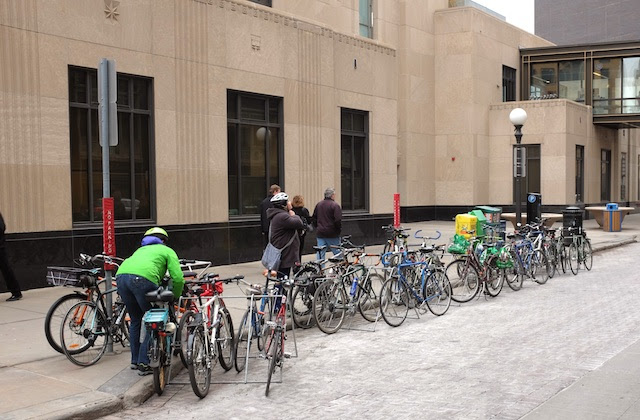 Additional bike parking outside City Hall, a first.