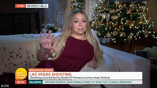 Baffled: Good Morning Britain viewers have been left baffled by pop diva Mariah Carey's appearance on Monday's instalment following the breaking news of a shooting in Las Vegas