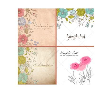 Vintage wild flowers vectors   floral backgrounds