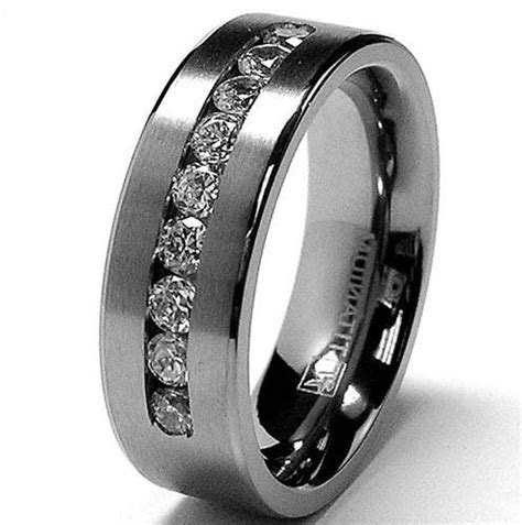 Marvelous Titanium Mens Wedding Bands With Black Diamonds