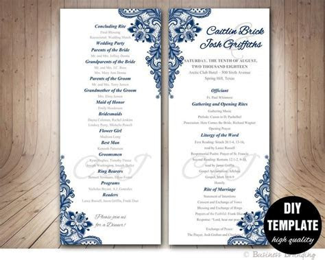 Navy Blue Wedding Program Template   Instant Download