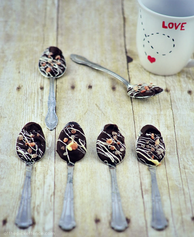 Chocolate and Pink Salt Dipping Spoons and Mug from At The  Picket Fence