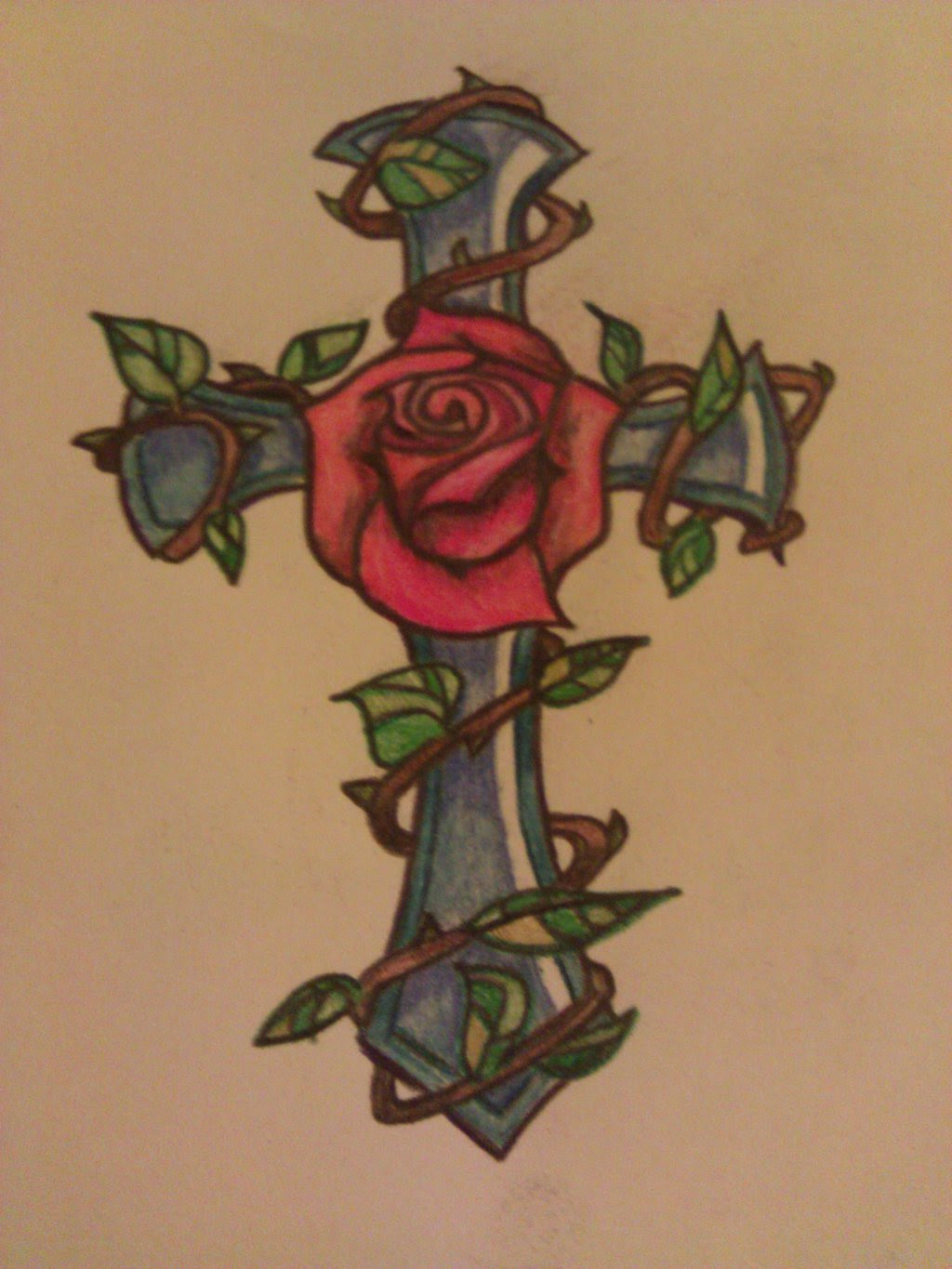 Cross With Rose Drawing At Getdrawingscom Free For Personal Use
