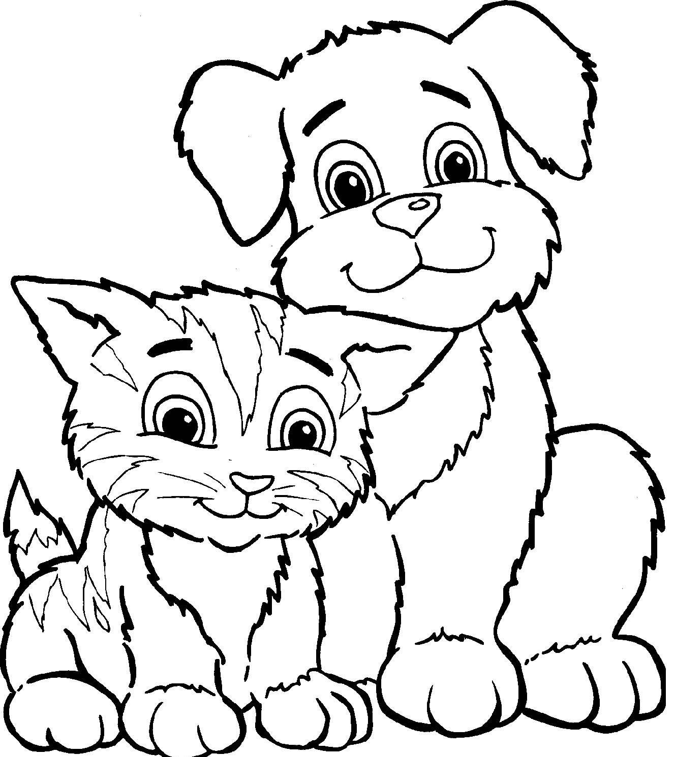 Coloriage a imprimer chien et chat